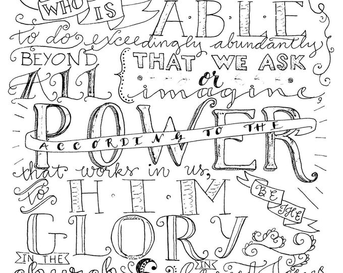 Ephesians 3:20-21, Now unto Him who is able, Instant Download, Adult Coloring Page