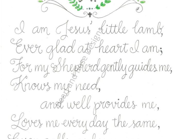 Jesus' Little Lamb, Nursery Decor printable, Hand Drawn, Instant Download
