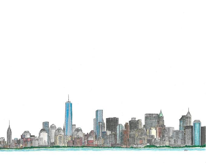 New York City, NY Skyline Print, Hand Drawn, Instant Download