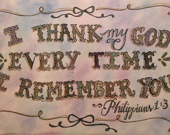 Thinking Of You Notecards, Philippians 1:3, Encouraging, hand drawn