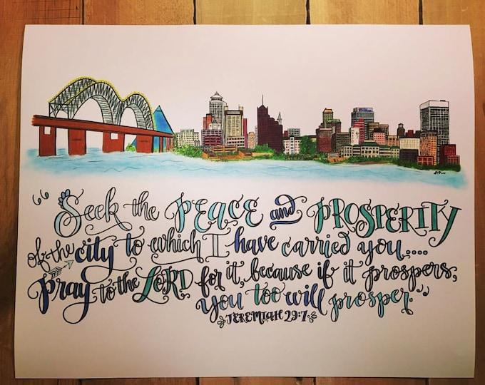 Memphis, Tennessee Skyline Design - Hand Drawn