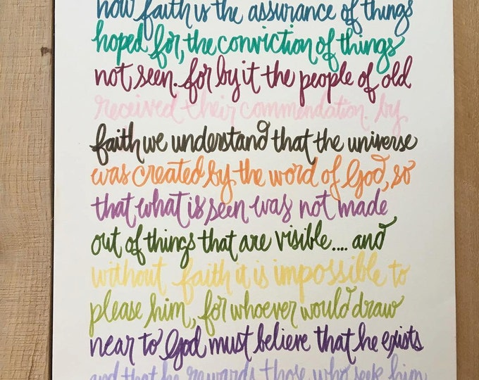 Hebrews 11:1-3,6 Rainbow Color Pallet, Bible Verse Design, Hand Drawn
