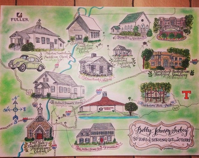 CUSTOM Life Map, Full Color, Hand Drawn