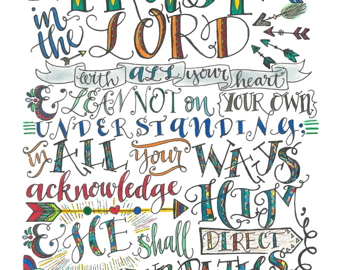 Proverbs 3:5-6, Trust In The Lord, Bible Verse Printable, Hand Drawn, Instant Download