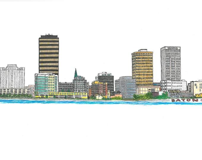 Baton Rouge, Louisiana Skyline Design - Hand Drawn, Instant Download