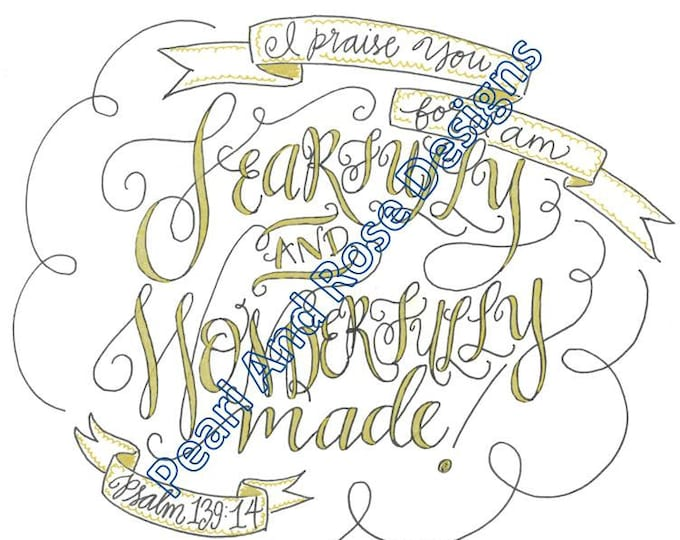 Psalm 139:14, Fearfully and Wonderfully Made, Bible Verse Printable, Hand Drawn, Instant Download