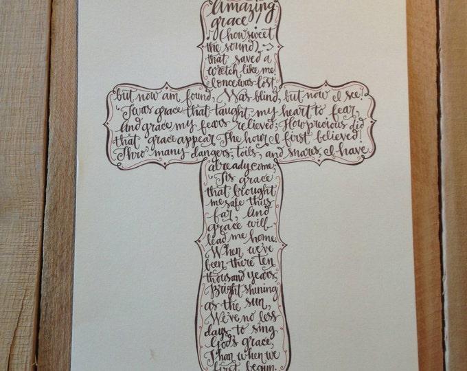 Amazing Grace Design - Hand Drawn Art, Cross Pattern