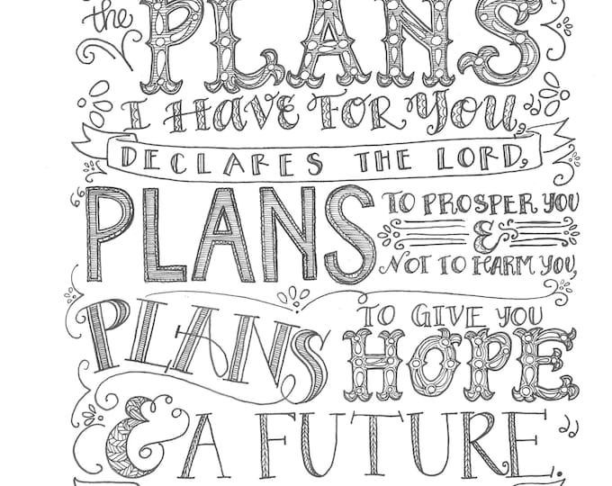 Jeremiah 29:11, I Know The Plans, Bible Verse Printable, Hand Drawn, Instant Download, Adult Coloring Page