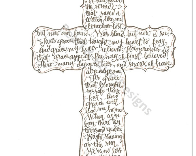 Amazing Grace printable - Hand Drawn Art, Cross Pattern, INSTANT DOWNLOAD