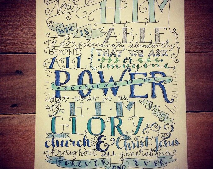 Ephesians 3:20-21, Now unto Him who is able, Bible Verse Design, Hand Drawn