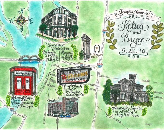 CUSTOM Wedding Map, Full Color, Hand Drawn