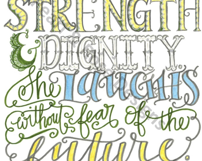 Proverbs 31:25, She Is Clothed With Strength, Bible Verse Printable, Hand Drawn, INSTANT DOWNLOAD