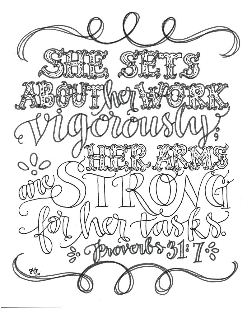 Adult Coloring Page Proverbs 31 7 She Sets About Her Work Etsy