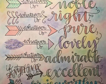 Philippians 4:8 with Colorful Arrows, Think On These Things, Bible Verse Design, Hand Drawn