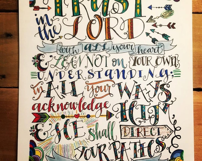 Proverbs 3:5-6, Trust In The Lord, Bible Verse Design, Hand Drawn