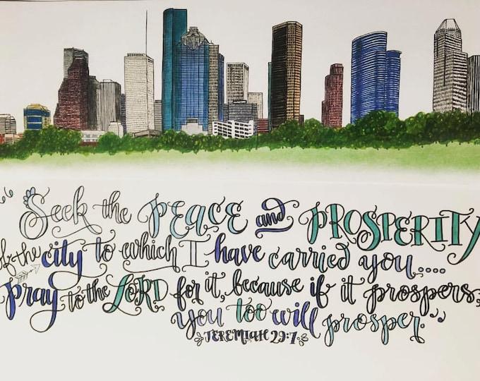 Houston, Texas Skyline Design - Hand Drawn