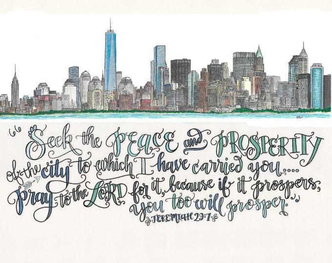 New York City, New York Skyline Design - Hand Drawn
