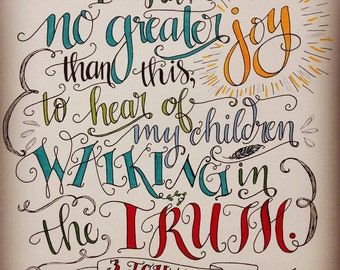 Bible verse print - hand drawn, 3 John 1:4 Children Walking in the Truth