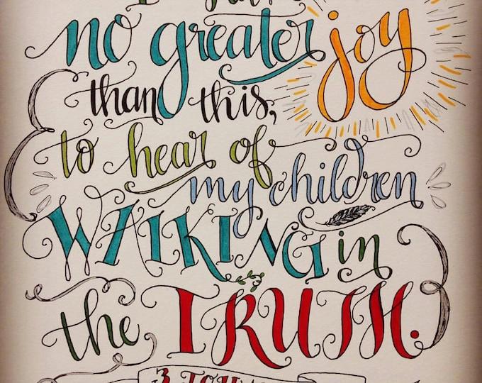 3 John 1:4, Children Walking in the Truth, Bible verse print, Hand Drawn
