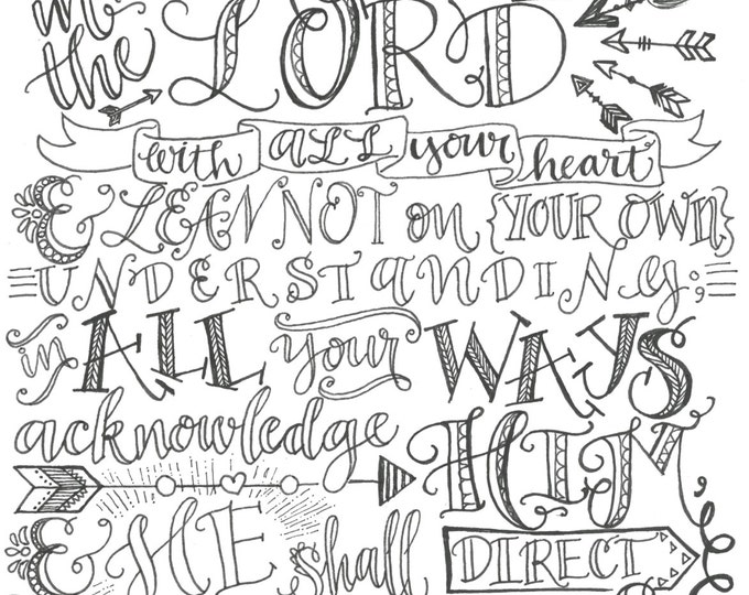 Proverbs 3:5-6, Trust In The Lord, Bible Verse Printable, Hand Drawn, Instant Download, Adult Coloring Page