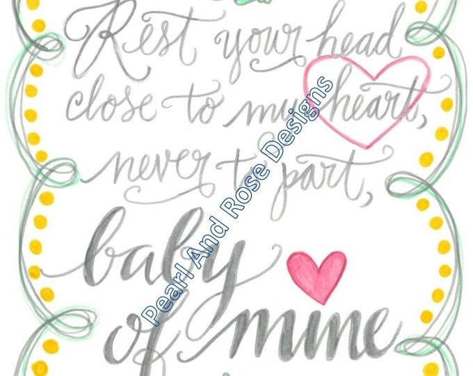Baby of Mine, Baby Gift, Nursery Decor Printable, Hand Drawn