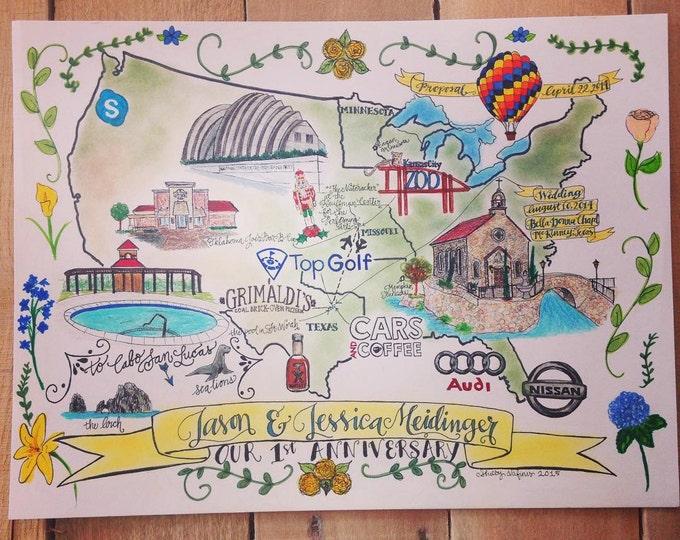 CUSTOM Anniversary Map, Hand Drawn