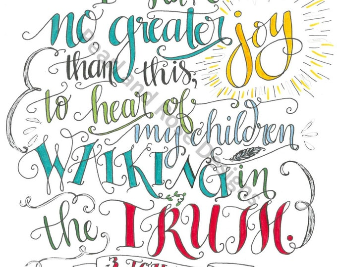 3 John 1:4, Children Walking in the Truth, Bible verse printable, Hand Drawn, Instant Download