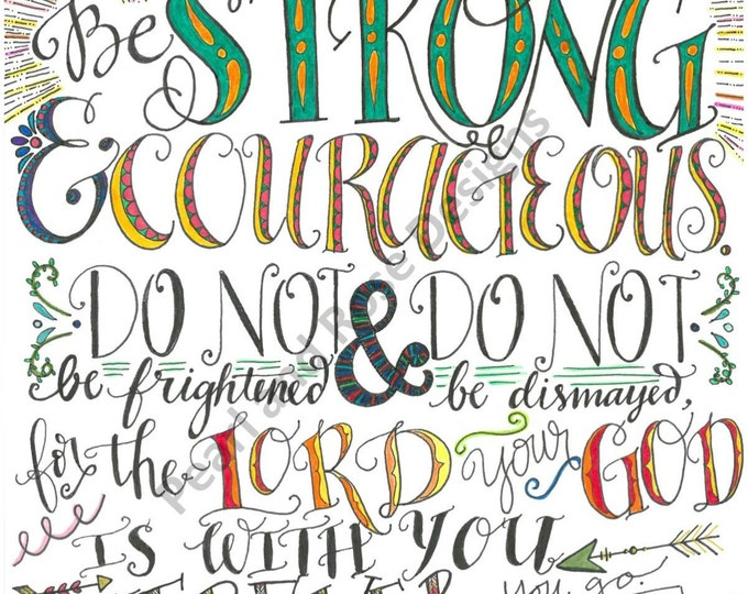 Joshua 1:9, Be Strong and Courageous, Bible Verse Printable, Hand Drawn, Instant Download