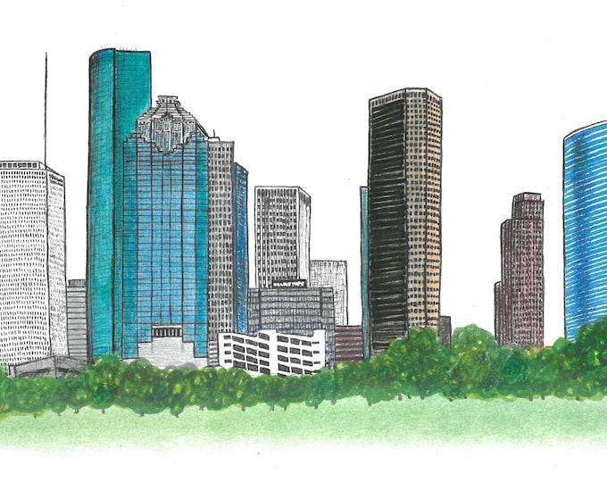 Houston, Texas Skyline Print, Hand Drawn, Instant Download