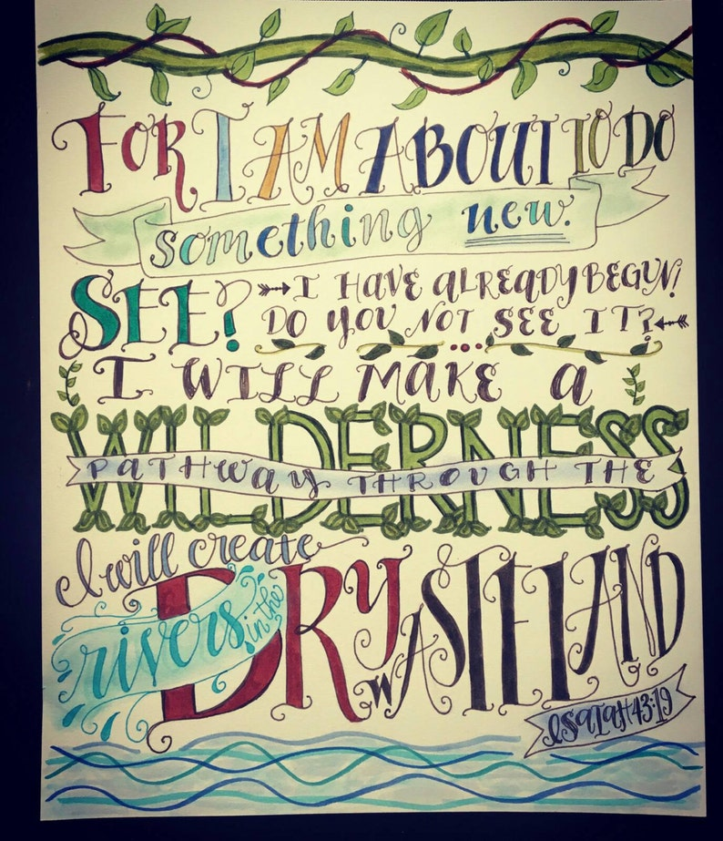 Isaiah 43:19 Hand Drawn Bible Verse Design About To Do Something New