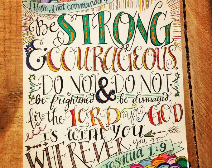 Joshua 1:9, Be Strong and Courageous, Bible Verse Design, Hand Drawn