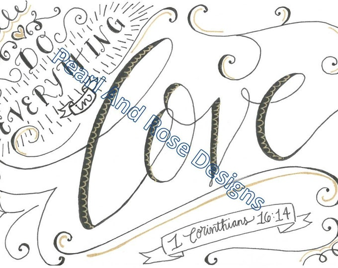 1 Corinthians 16:14, Do Everything in Love, Bible Verse Printable, Hand Drawn, Instant Download