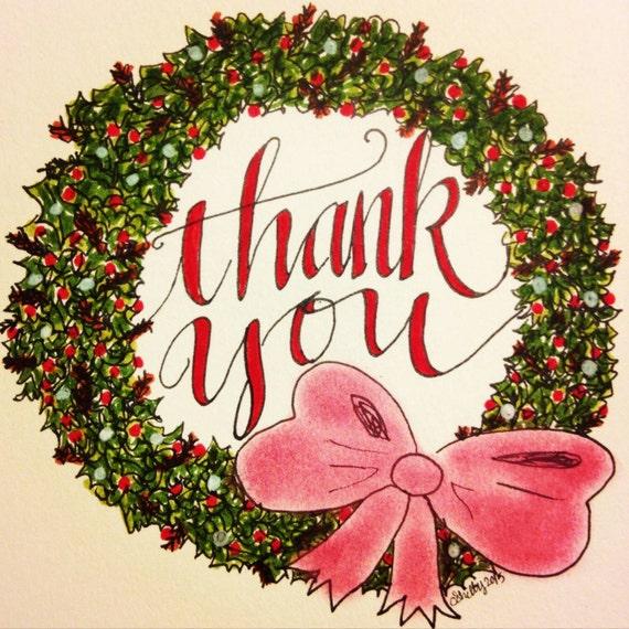 Weihnachten-danke-Grußkarten Kranz | Etsy