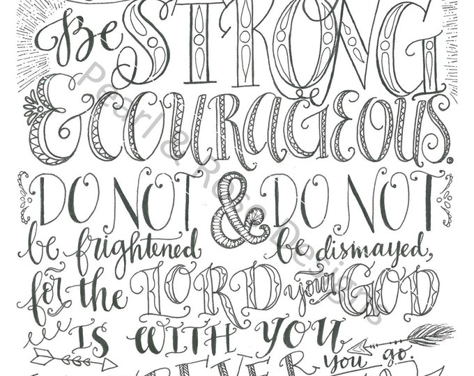 Joshua 1:9, Be Strong And Courageous, Bible Verse Printable, Hand Drawn, Instant Download, Adult Coloring Page