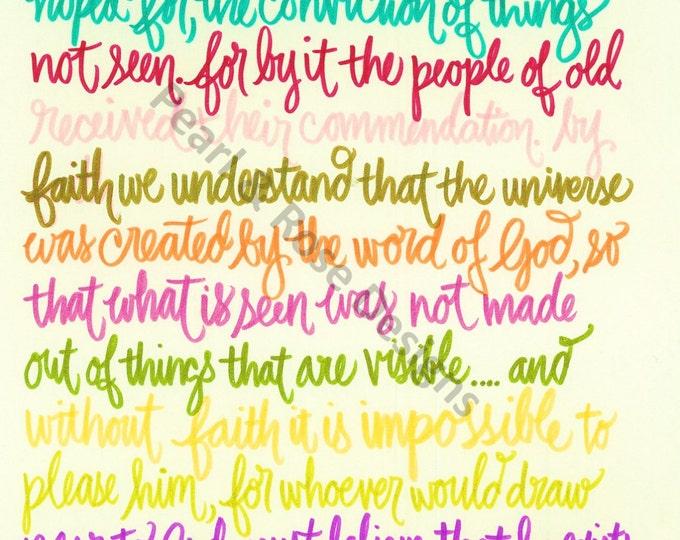 Hebrews 11:1-3,6 Rainbow Color Pallet, Bible Verse Printable, Hand Drawn, Instant Download
