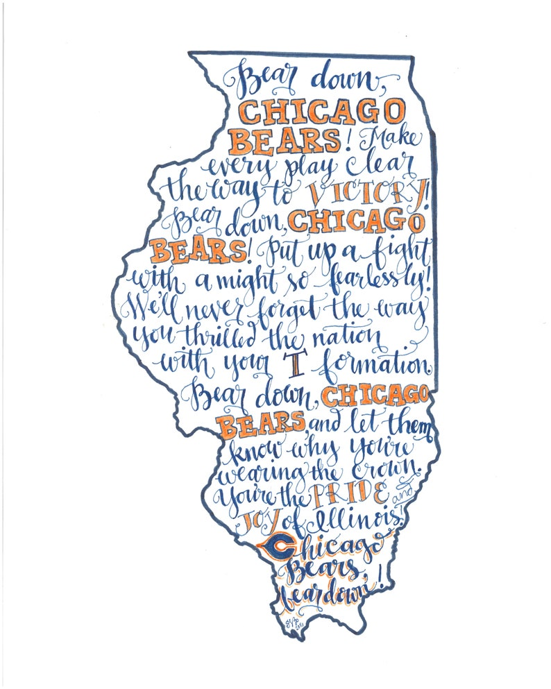 photograph about Chicago Bears Schedule Printable named Chicago Bears Combat Music Printable - Hand drawn, Go through Down, Illinois Map, Instantaneous Down load