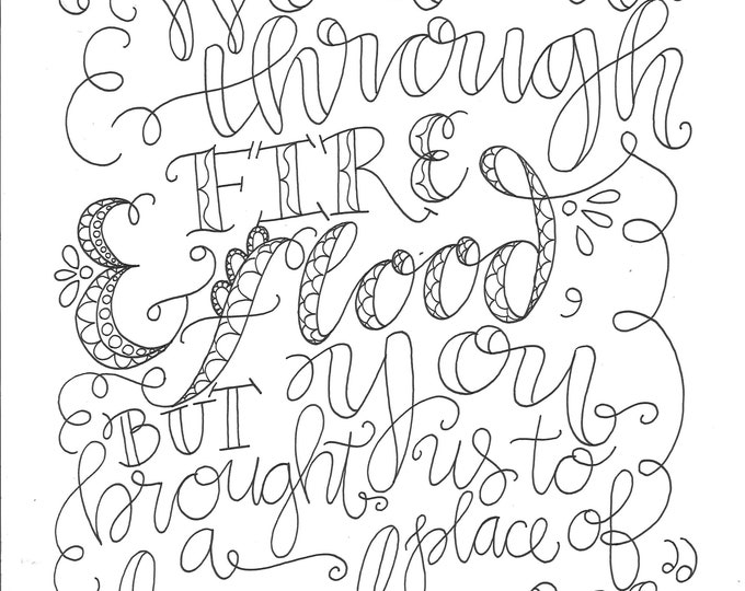Psalm 66:12, We Went Through Fire, Instant Download, Adult Coloring Page