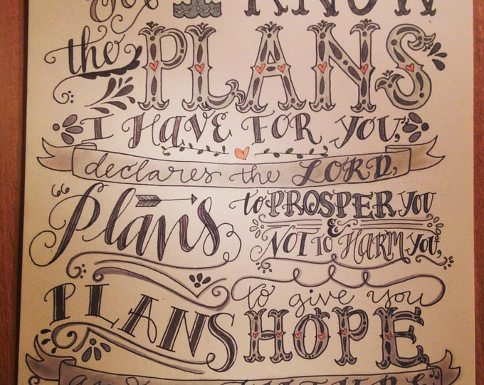 Jeremiah 29:11, I Know The Plans, Bible Verse Design, Hand Drawn