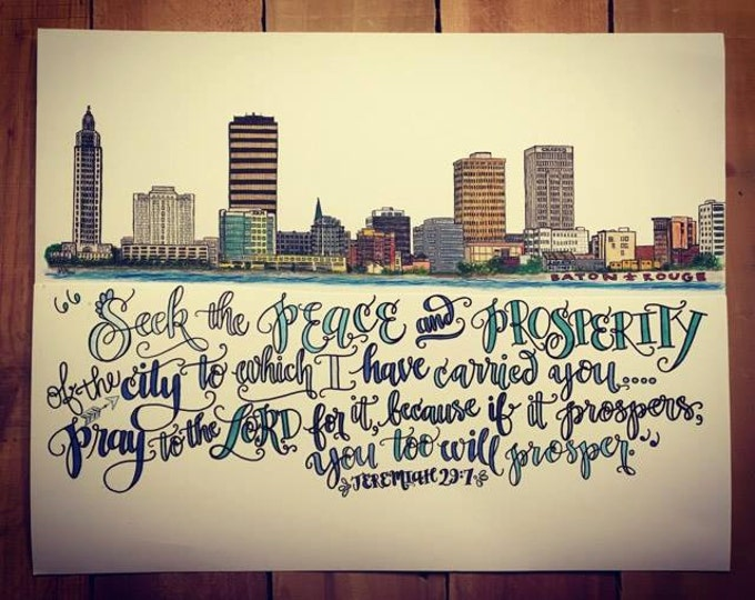 Baton Rouge, Louisiana Skyline Design - Hand Drawn