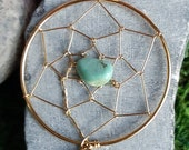 Handmade dreamcatcher pendant, wirewrapped dreamcatcher jewelry, gold dreamcatcher, spiritual jewelry gifts, crystal turquoise dreamcatcher
