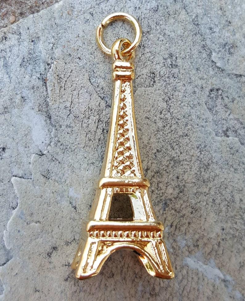 cfbf64c76 14k Gold Eiffel Tower Charms Pendants Jewelry Charm Bracelet