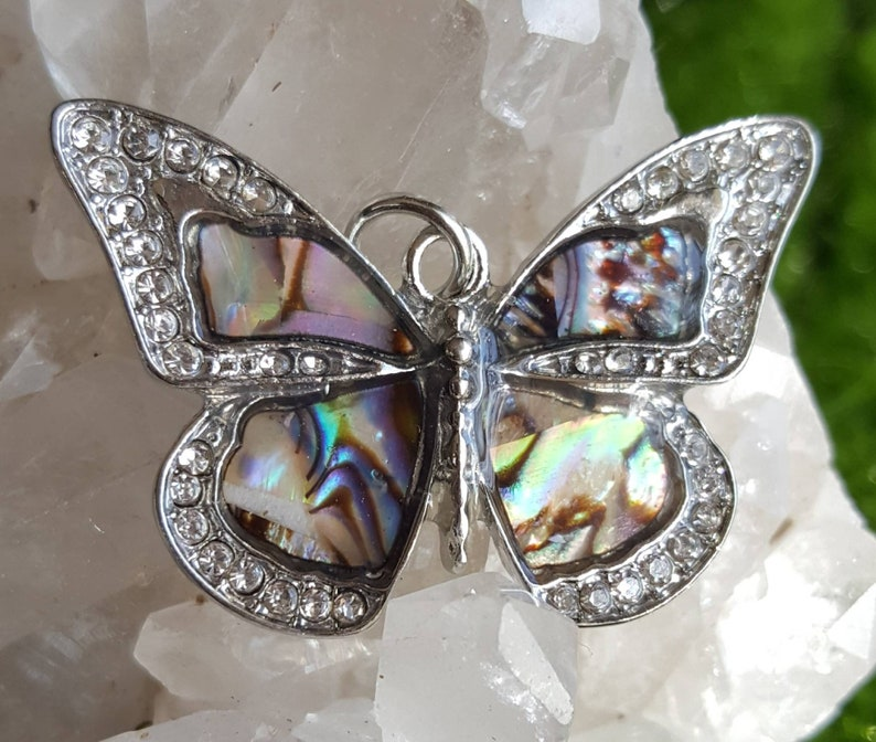 silver blue butterfly colorful butterfly necklace pendant pave crystal butterfly Abalone butterfly pendant with crystals abalone pendant