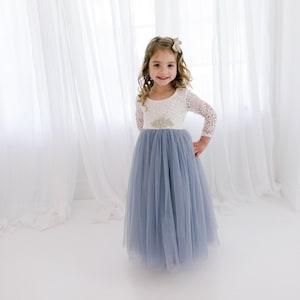 Dusty Sage Mint Green Long Sleeve Wedding Gown Boho Chic Beach Fern Eucalyptus Seagrass Floor Length White Lace Flower Girl Dress