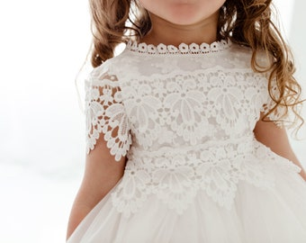 Bohemian White Flower Girl Dress, Rustic Tulle Wedding Dress, Will You Be My Flower Girl Proposal, Boho Dresses
