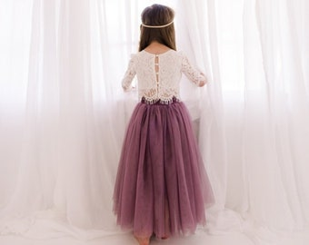 e0ed75cf6f Lilac Purple Tulle Two Piece Skirt, White Lace Flower Girl Dress, Boho  Beach Wedding, Buttons, Bohemian, Amethyst, Orchid, Mauve, Violet