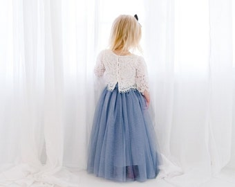 b9f13884249a6 Dusty Gray Tulle Two Piece Tutu Skirt, White Lace Flower Girl Dress, High  Waisted Boho Beach Wedding, Buttons, Bohemian, Slate Charcoal Blue