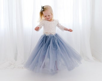 610abef8b White Lace Flower Girl Dress, Dusty Blue Tulle Two Piece Tutu Skirt, High  Waisted Boho Beach Wedding, Buttons, Bohemian, Slate Charcoal