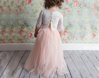9152e017b9 Blush Pink Tulle Two Piece Tutu Skirt, Romantic White Lace Flower Girl Dress,  Fairy Boho Beach Wedding, Crochet, Buttons, Bohemian