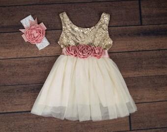 e02ba476a7a44 Ivory Tulle Flower Girl Dress Gold sequin dress Cream | Etsy