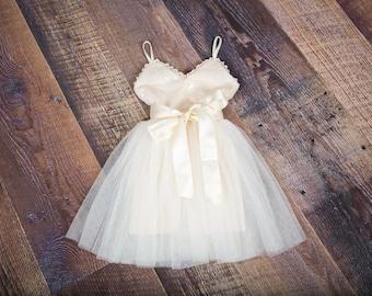 a9c2b83a479 Ivory Tulle Flower Girl Dress